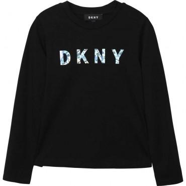 Czarny longsleeve dla dziewczynki logo DKNY 003966 A