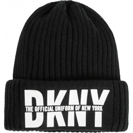 Czarna czapka dziewczęca beanie DKNY 003970 A