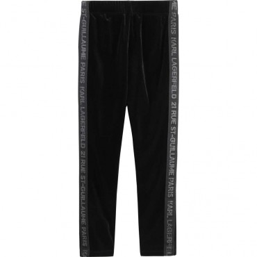 Welurowe legginsy dziewczęce Karl Lagerfeld 003971 A