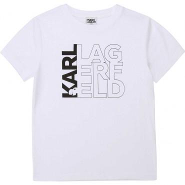 Biały t-shirt dla chłopca Karl Lagerfeld 003973 a