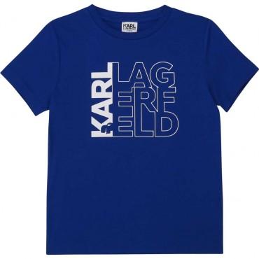 Kobaltowy t-shirt chłopięcy Karl Lagerfeld 003974
