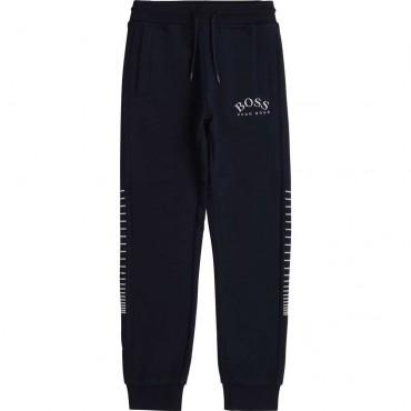 Granatowe spodnie dla chłopca Hugo Boss 003985