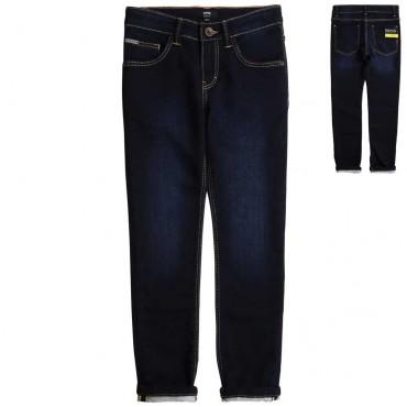 Granatowe jeansy dla chłopca Hugo Boss 003986 a