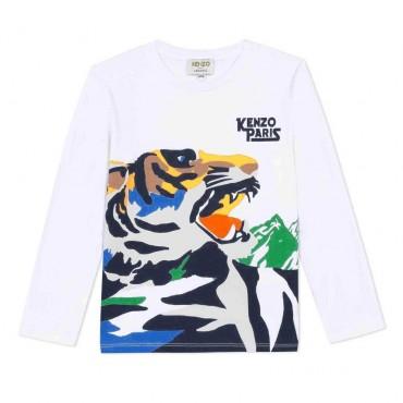 Koszulka chłopięca z bawełny organicznej Kenzo Venture Tiger 004015 A