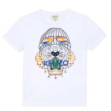 Ekologiczny t-shirt chłopięcy z bawełny organicznej Kenzo Tiger Line 004017 A