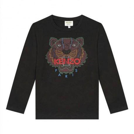 Czarna koszulka chłopięca Kenzo Kids Tygrys 004020 a