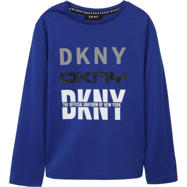 Kobaltowa koszulka dla chłopca DKNY 004028