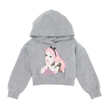 Ubrania dla dzieci - dziecięca bluza z kapturem Alicja Monnalisa 004051 a