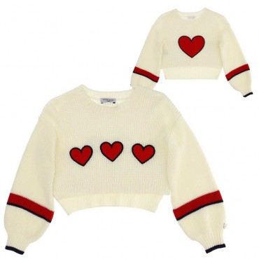 Modne ubranka dla dzieci - Krótkie swetry dla dziewczynek Monnalisa 004055