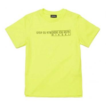 Jaskrawożółty t-shirt dla dziecka Diesel 004076 a