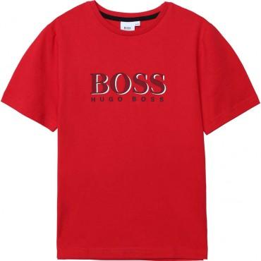 Czerwony t-shirt dla dziecka Hugo Boss 004123 a