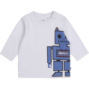 Biała koszulka niemowlęca Hugo Boss 004129 a