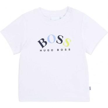 T-shirt niemowlęcy z kolorowym logo Boss 004130 a