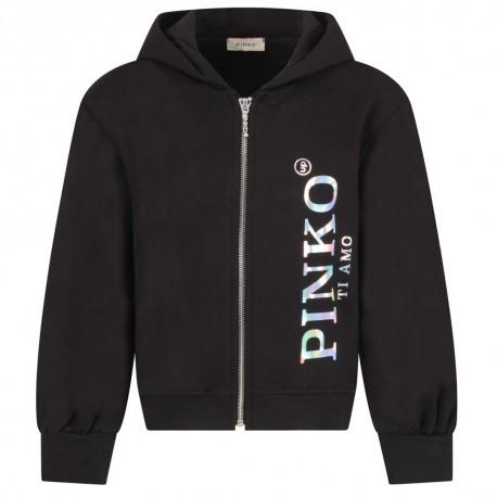 Czarna bluza dziewczęca z hologramem Pinko 004144 a