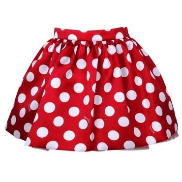 Czerwona spódnica w grochy Monnalisa 004148 a