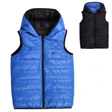 Zimowe kurtki chłopięce - ocieplony bezrękawnik dla chłopca Hugo Boss 004171 a