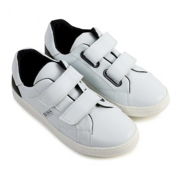 Białe buty chłopięce - obuwie dziecięce na rzepy Hugo Boss 004177 a