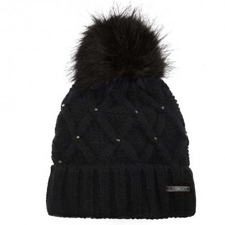 Czarna czapka dziewczęca z pomponem Liu Jo 004201