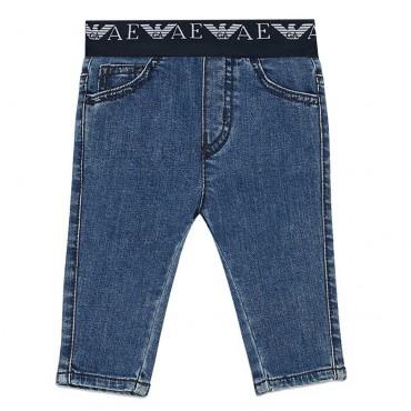 Niebieskie jeansy niemowlęce Emporio Armani 004215 a