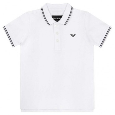 Biała koszulka polo dla chłopca Armani 004218 A