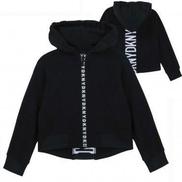 Czarna bluza z kapturem dla nastolatki DKNY 004244 a - ubrania młodzieżowe - sklep