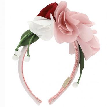 Opaska na włosy z kwiatami Monnalisa 004248