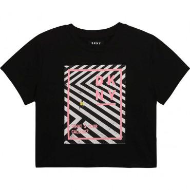 Krótka koszulka dla dziewczynki DKNY 004260 - ubrania dla dzieci - sklep