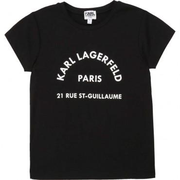 Czarny t-shirt dziewczęcy Karl Lagerfeld 004264 - ubrania dla dzieci - sklep internetowy