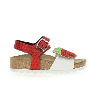 Sandały dla dziewczynki truskawka Monnalisa 004268 - buty dla malucha - sklep