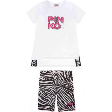 Maxi t-shirt + legginsy dziewczęce Pinko Up 004284 - modne ubranka dla dzieci - sklep internetowy