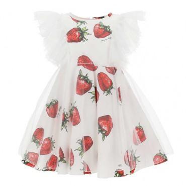 Sukienki dla dziewczynek w truskawki Monnalisa 004285 - ekskluzywne ubrania dla dzieci - sklep online