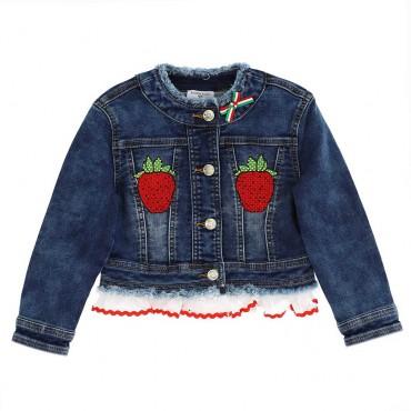 Dziewczęce kurtki z truskawkami Monnalisa 004286 - ekskluzywne ubranka dla dzieci - sklep online