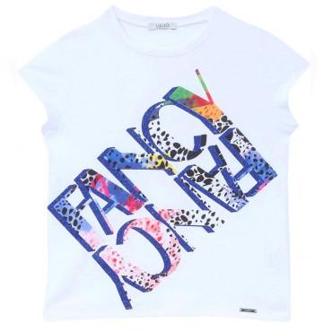 T-shirt z nadrukiem dla dziewczynki Liu Jo 004299 - ubrania dla dzieci - sklep euroyoung.pl