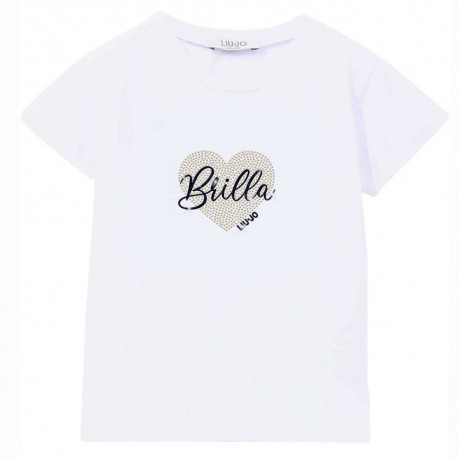 Biały t-shirt dla dziewczynki serce Liu Jo 004307 - moda dla dzieci i niemowląt - sklep internetowy euroyoung.pl