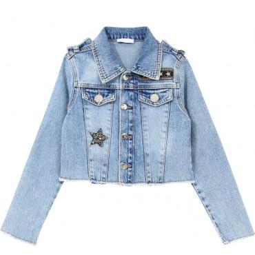 Jeansowa kurtka dla dziewczynki Liu Jo 004311 - ubrania dla dzieci - sklep internetowy