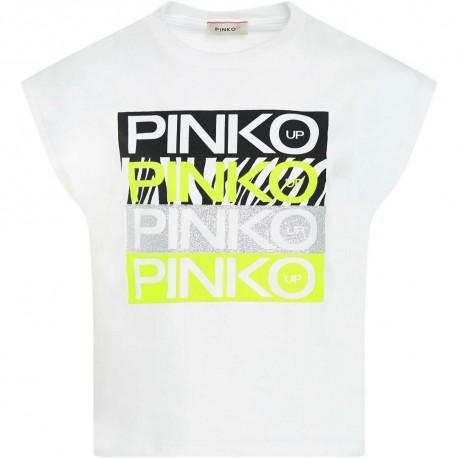 Biały t-shirt dziewczęcy z nadrukiem Pinko 004319 - ubrania dla nastolatek - sklep internetowy euroyoung.pl
