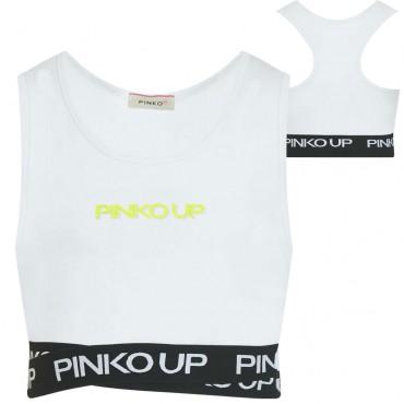 Biały crop top dziewczęcy Pinko Up 004323 - ubrania dla dzieci - sklep internetowy euroyoung.pl