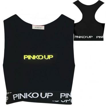 Czarny crop top dla dziewczynki Pinko Up 004324 - ubrania dla dzieci - sklep internetowy