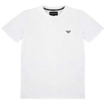 Biały t-shirt chłopięcy Emporio Armani 004217 - ekskluzywne ubrania dla dzieci - sklep internetowy euroyoung.pl
