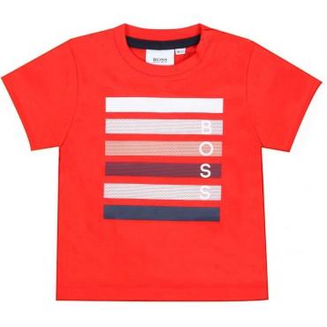 Koralowy t-shirt dla chłopca Hugo Boss 004342