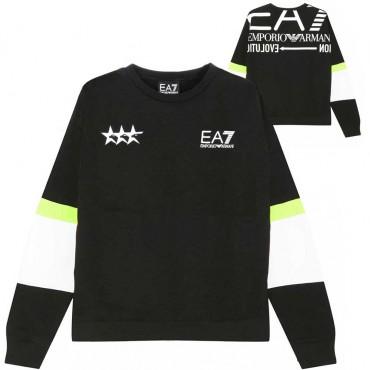 Bluza chłopięca z kieszenią kangur EA7 004346 - ubrania dla dzieci i nastolatków - sklep internetowy
