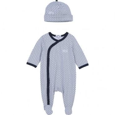 Pajacyk niemowlęcy + czapeczka Hugo Boss 004352 - wyprawka dla noworodka - sklep internetowy euroyoung.pl