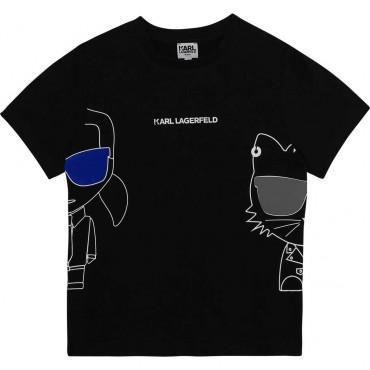 Czarny t-shirt dla chłopca Karl Lagerfeld 004356
