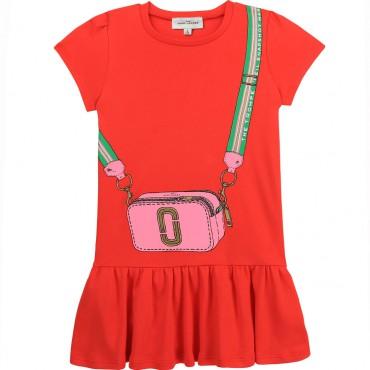 Czerwona sukienka dziewczęca Marc Jacobs 004359 - ubranka dla dzieci - sklep internetowy euroyoung.pl