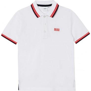 Biała koszulka polo dla chłopca Hugo Boss 004373