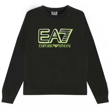 Czarna bluza chłopięca z logo EA7 004382