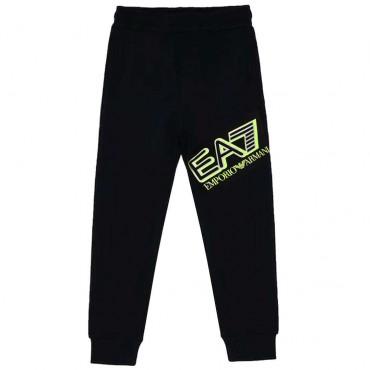 Czarne sportowe spodnie chłopięce EA7 004383 - ubrania dla dzieci - sklep internetowy euroyoung.pl
