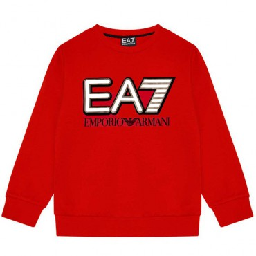 Czerwona bluza dla chłopca z logo EA7 004384