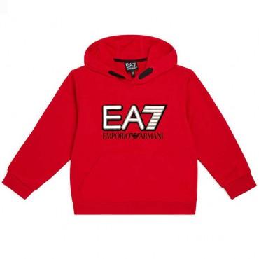 Czerwona bluza z kapturem dla chłopca EA7 004385 - ubrania dla dzieci - sklep internetowy euroyoung.pl