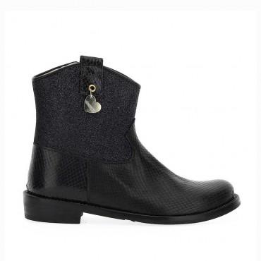 Czarne botki dla nastolatki Monnalisa 004387 - buty dla dzieci - sklep internetowy euroyoung.pl